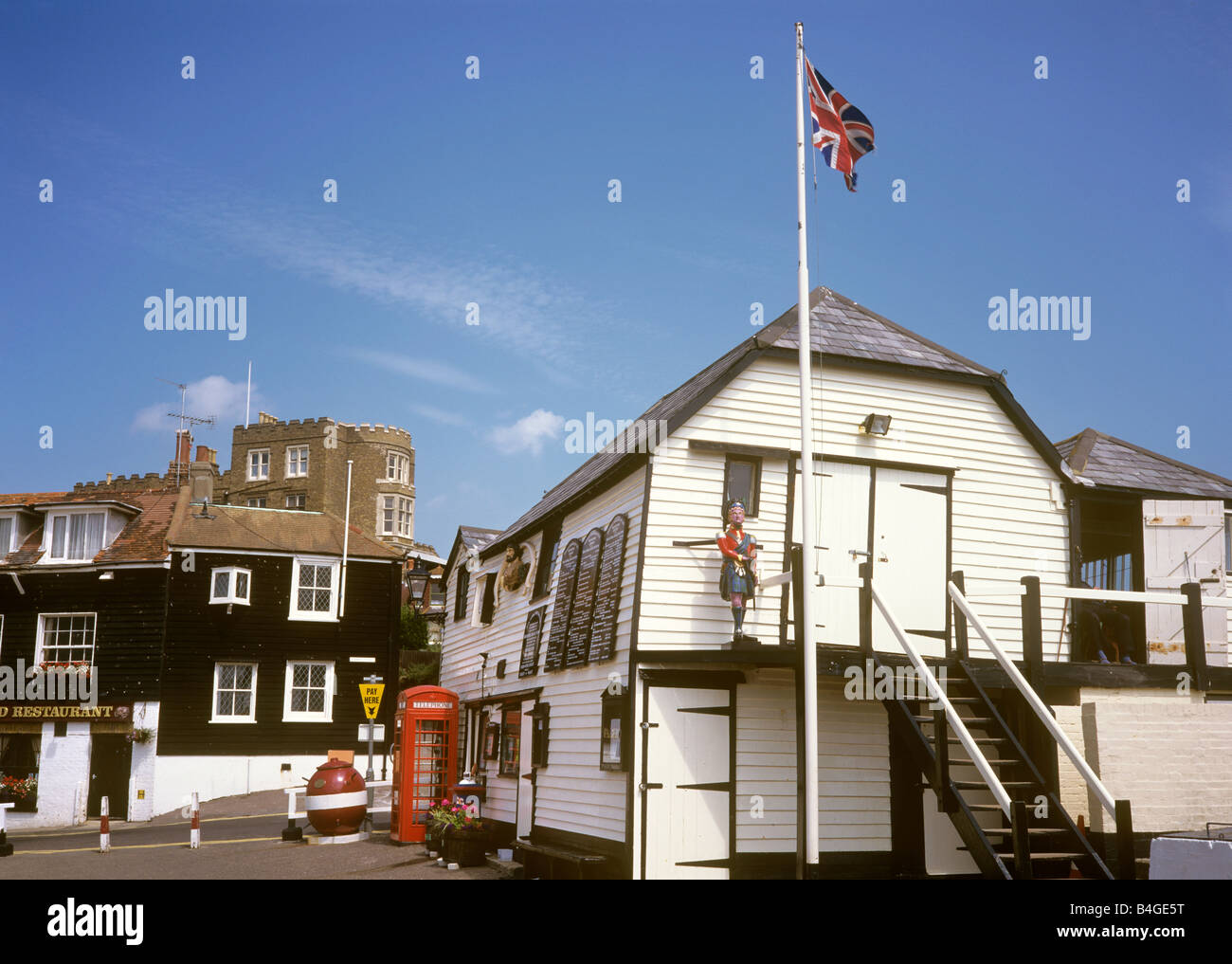 UK England Kent Broadstairs Lifeboat station and Charles Dickens Bleak House - Stock Image