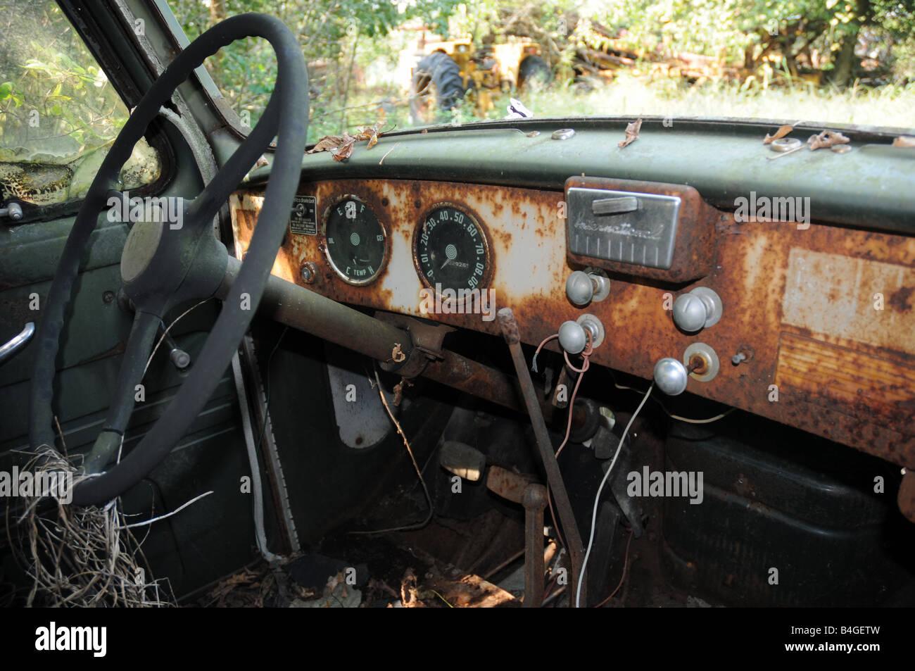 Dash on old rusted International truck. Illinois  USA - Stock Image