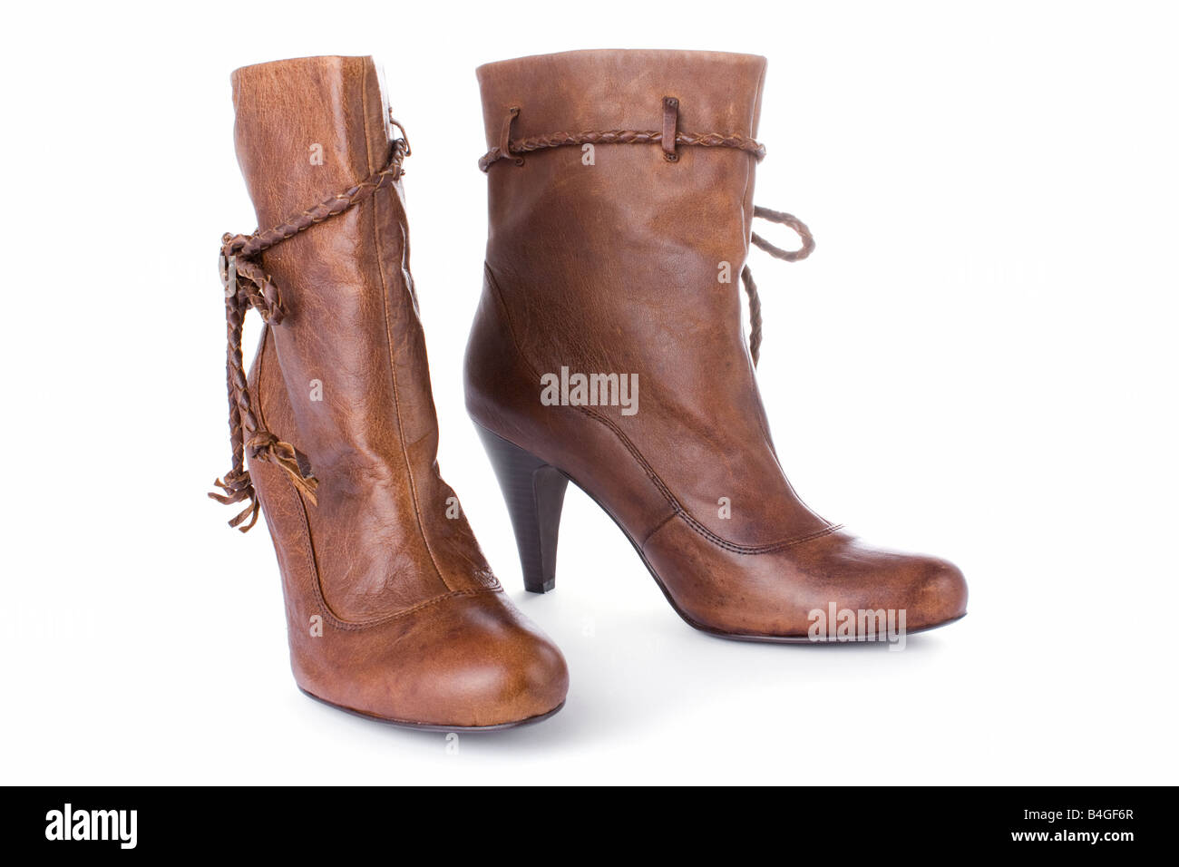 Hig heels half boots isolated on white background - Stock Image