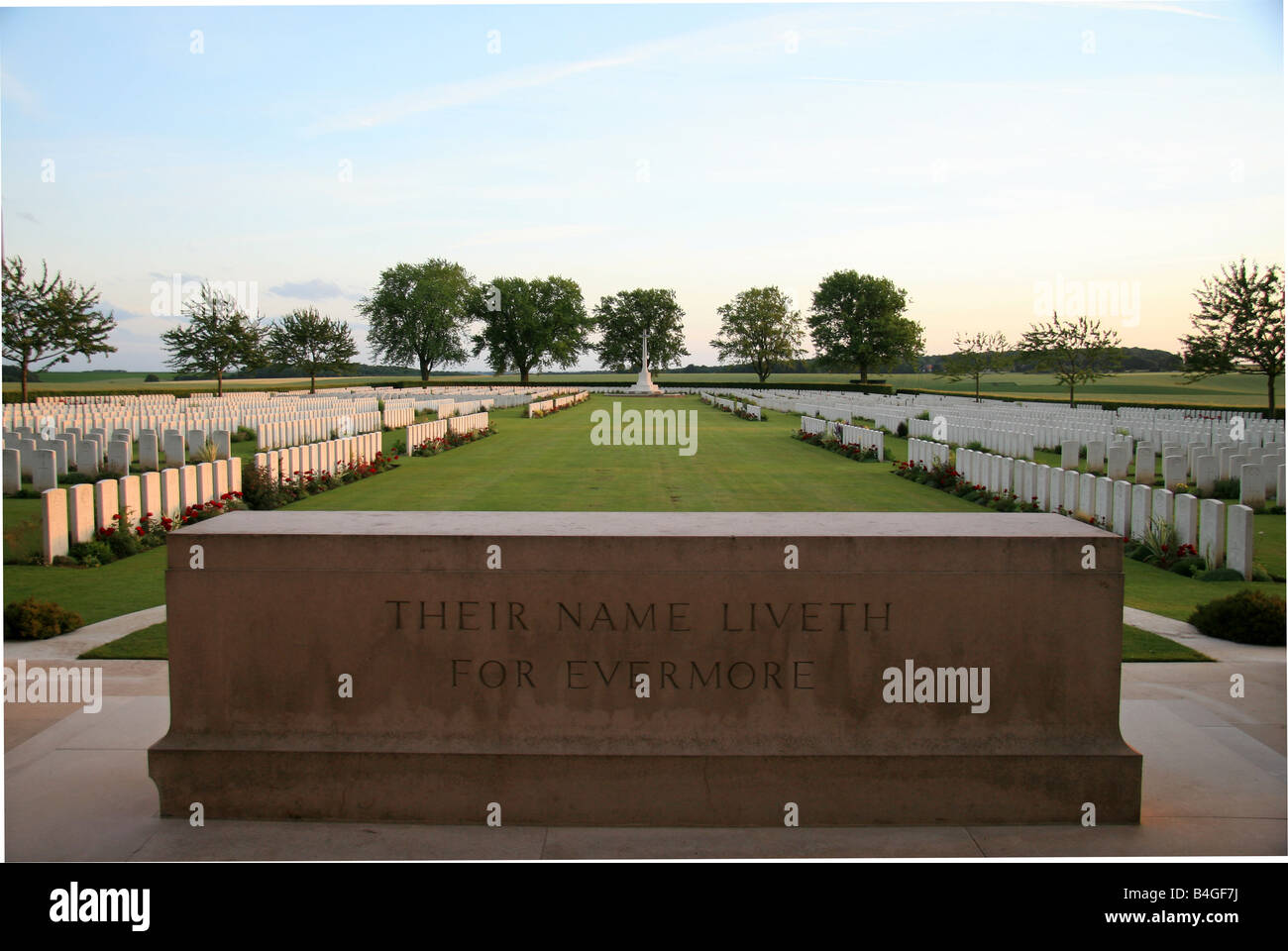 The Stone of Rememberance at the London Cemetery and Extension, High Wood, Longueval, France. - Stock Image