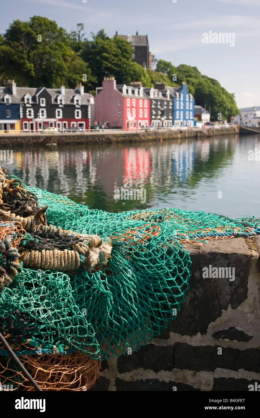 Cottages along the waterfront Tobermory Mull Scotland - Stock Image