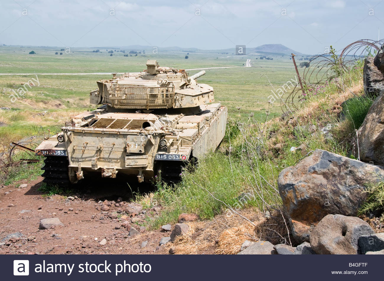 Tank left from the Six Day War at Tel Saki in the Golan Heights, Israel - Stock Image