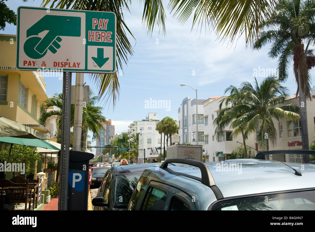 Pay & Display sign for parking in South Beach, Miami, Florida - Stock Image