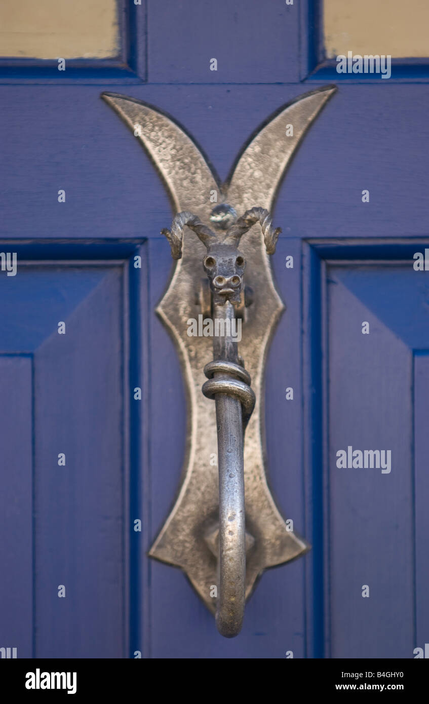 Merveilleux Detail Of Blue Painted Wooden Front Door Showing Celtic Style Dragon Knocker  Of House UK