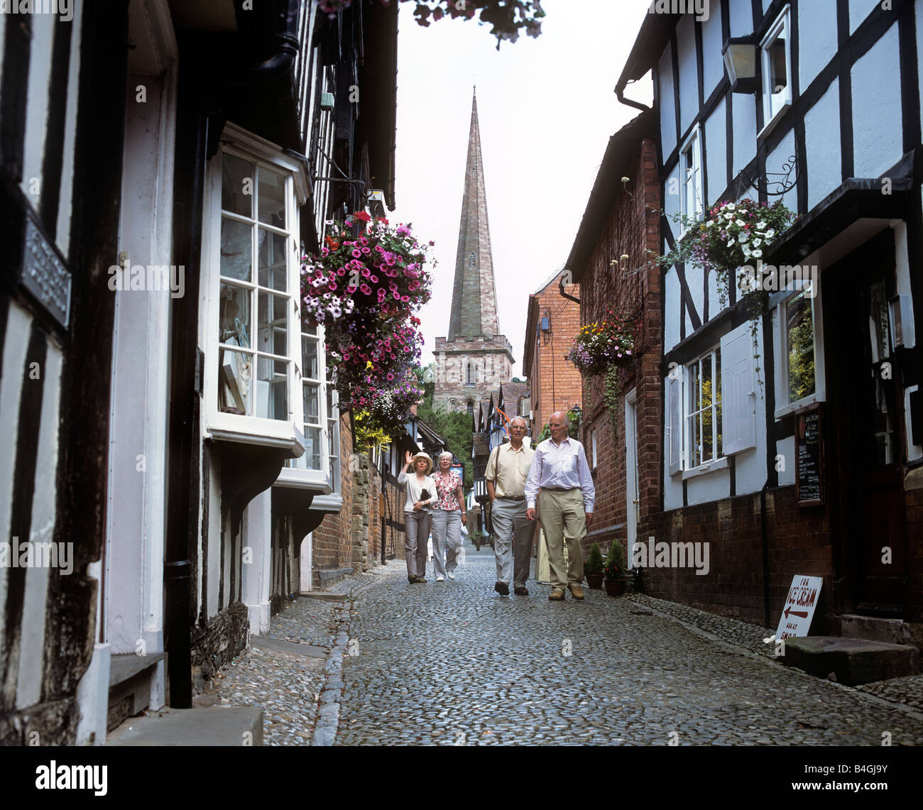 Church Lane ,Ledbury, Herefordshire. Looking towards the 12C church of St Michael and All Angels. - Stock Image