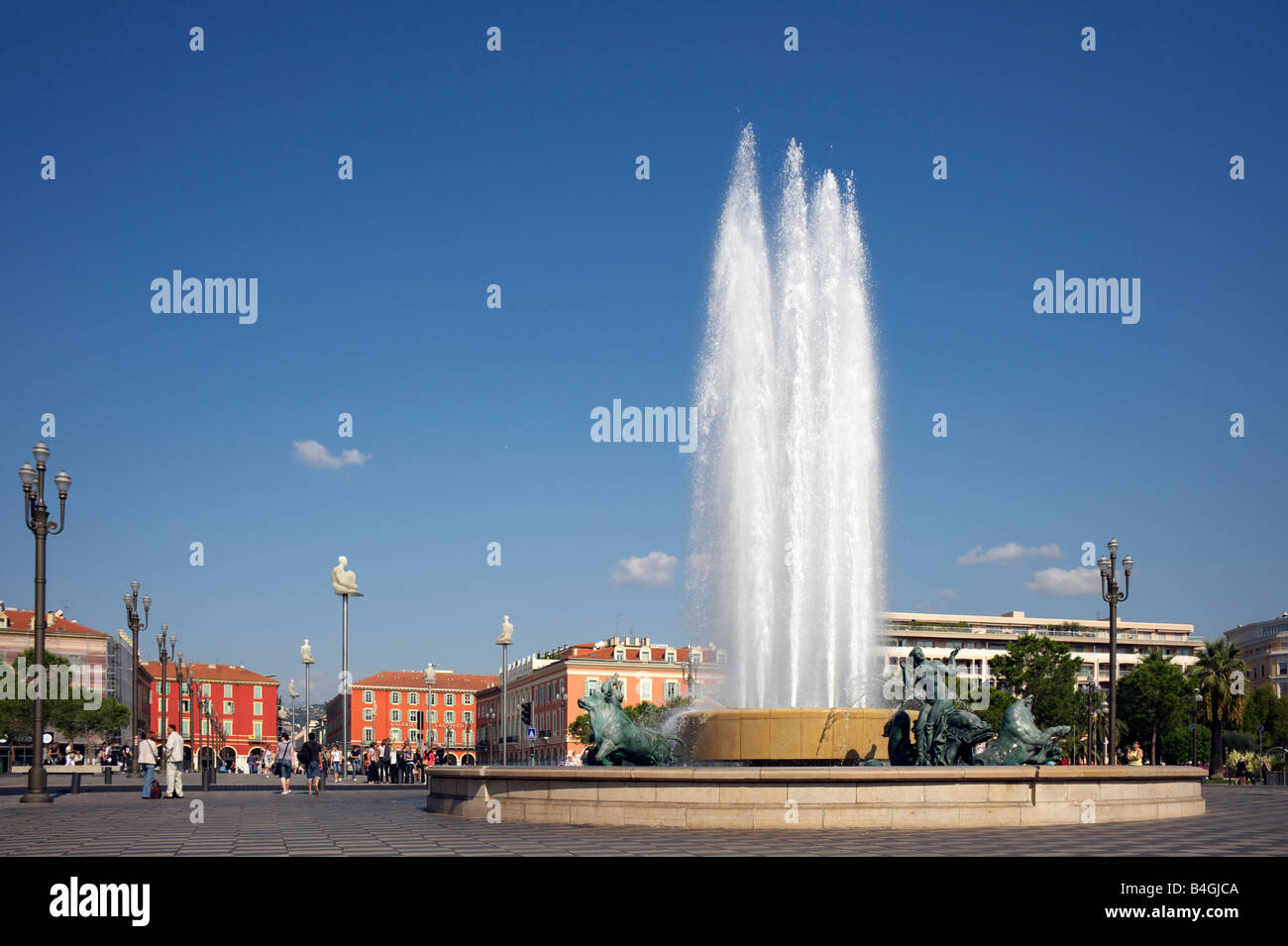 The restored fountain at Place Massena France - Stock Image