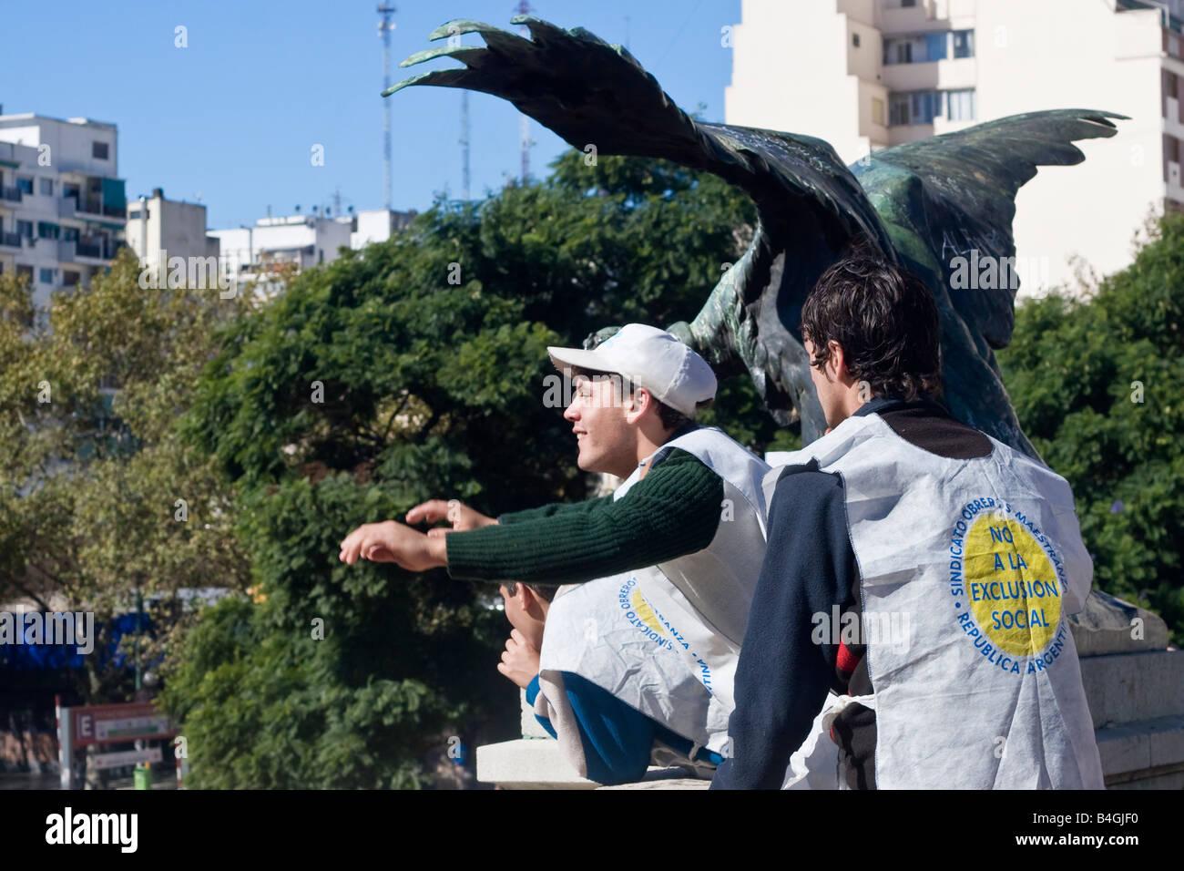 Protestors outside the Palacio del Congreso in Buenos Aires Stock Photo