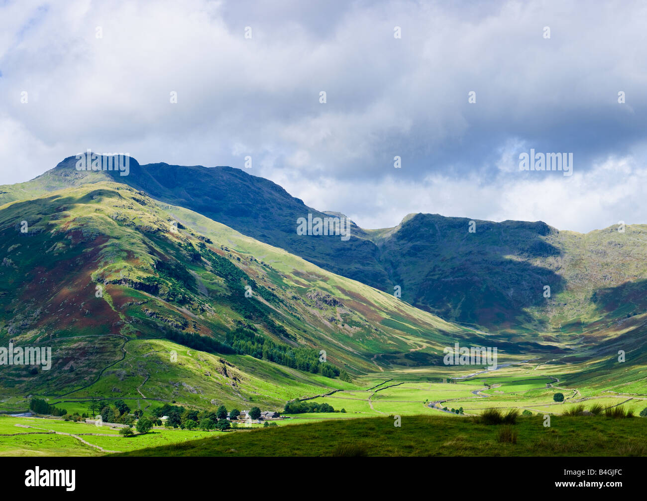 The Band and Bowfell in the English Lake District Cumbria England UK showing the Langdale Valley floor - Stock Image