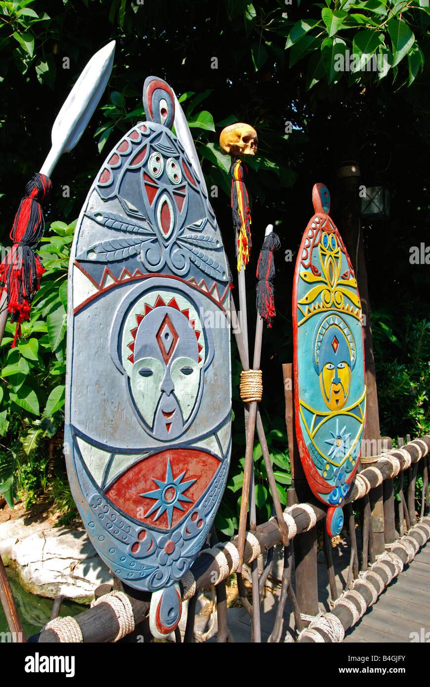 polynesian  shields at portaventura theme park in salou, spain - Stock Image