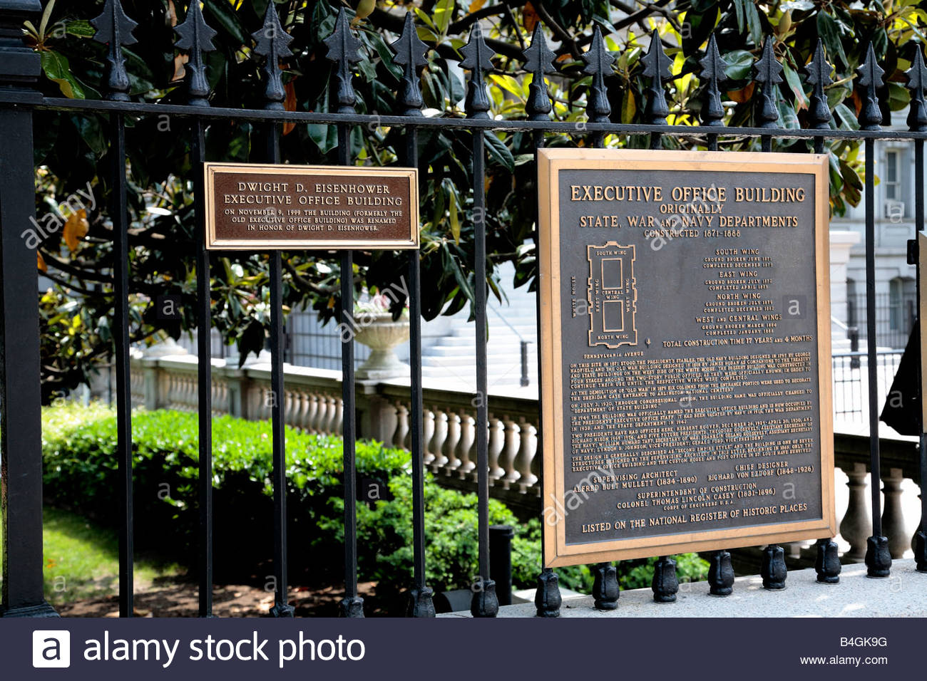 Plaques For The Executive Office Building Next Door To The White Stock Photo Alamy