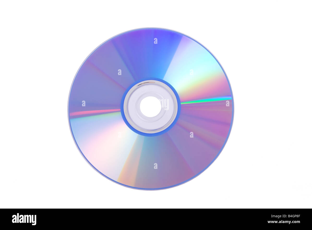 Blue DVD/CD/Blu-ray isolated on a white background - Stock Image