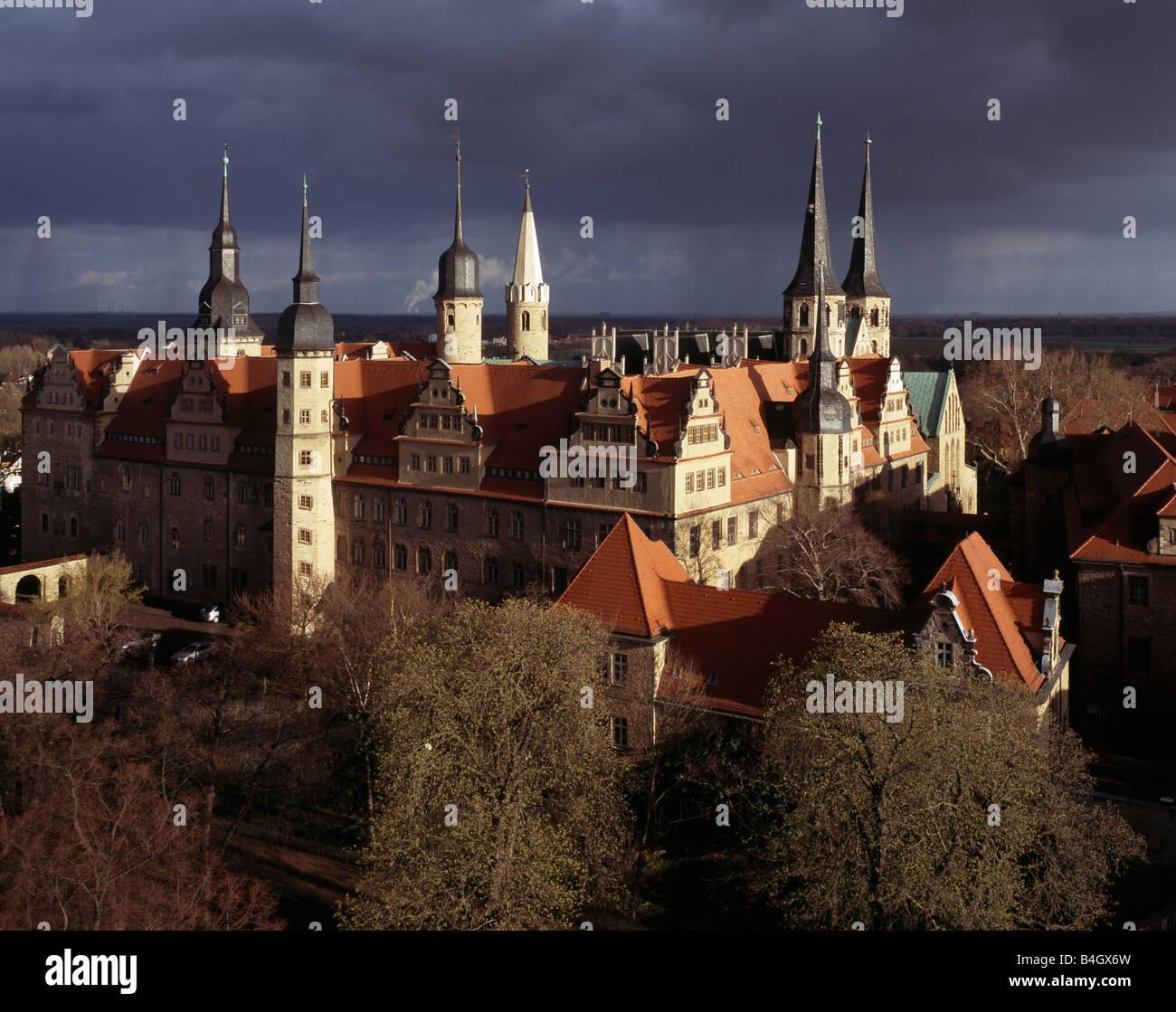 Merseburg/Saale, Schloß und Türme des Doms, Blick von Nordwesten - Stock Image