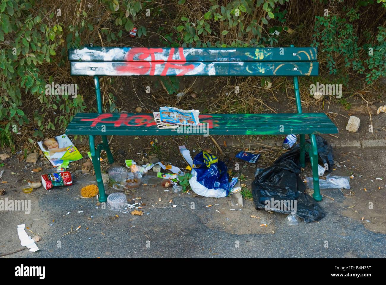 Mess in Letenske sady park in Prague Czech Republic Europe - Stock Image