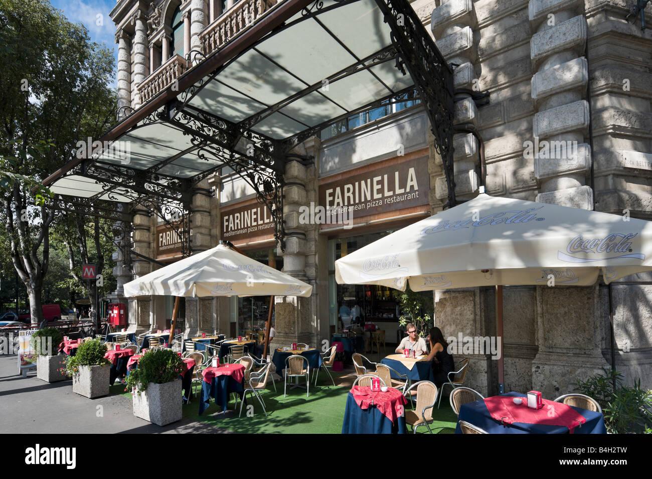 Restaurant near the Castello Sforzesco, Largo Cairoli, Foro Buonaparte, Milan, Lombardy, Italy Stock Photo