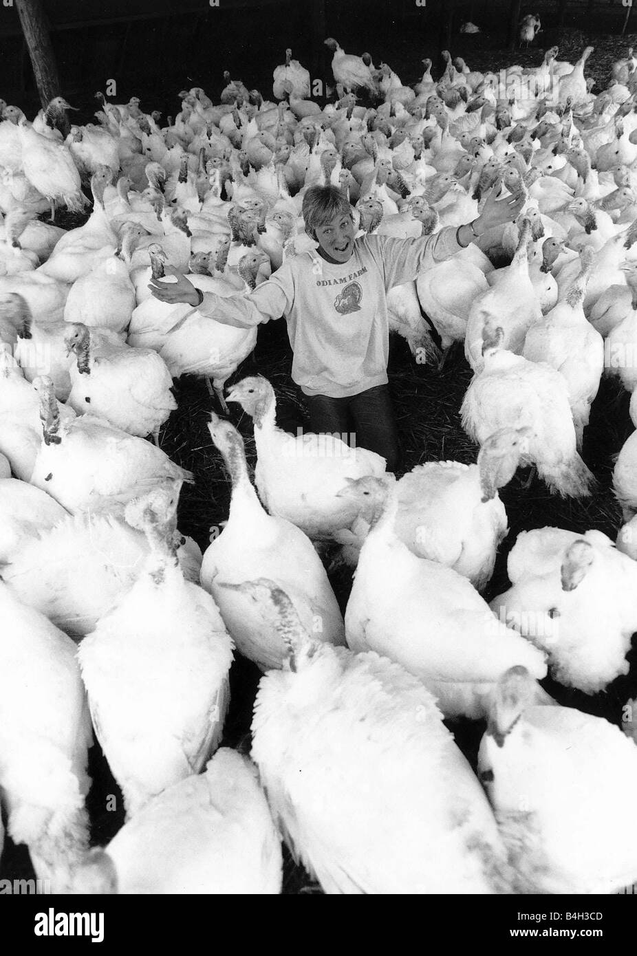Teddah Marden Ranger Turkey farmer and birds Kent 1989 - Stock Image