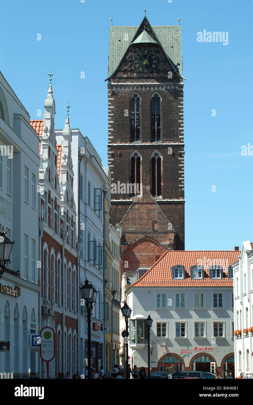 Church and houses in town - Stock Image