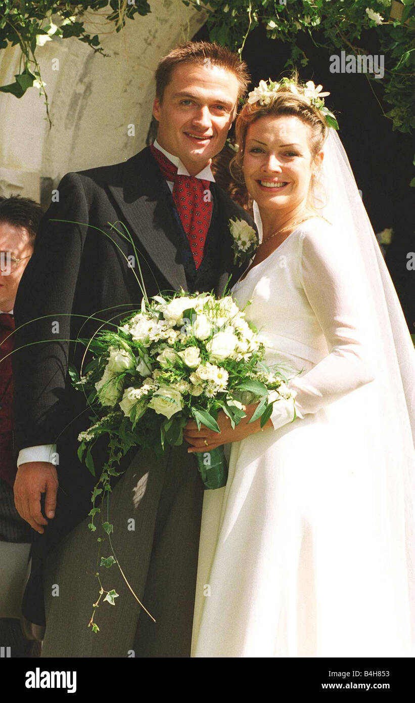 Kim Wilde Actress Singer with new husband actor Hal Fowler outside St Giles  church Codicote Hertfordshire
