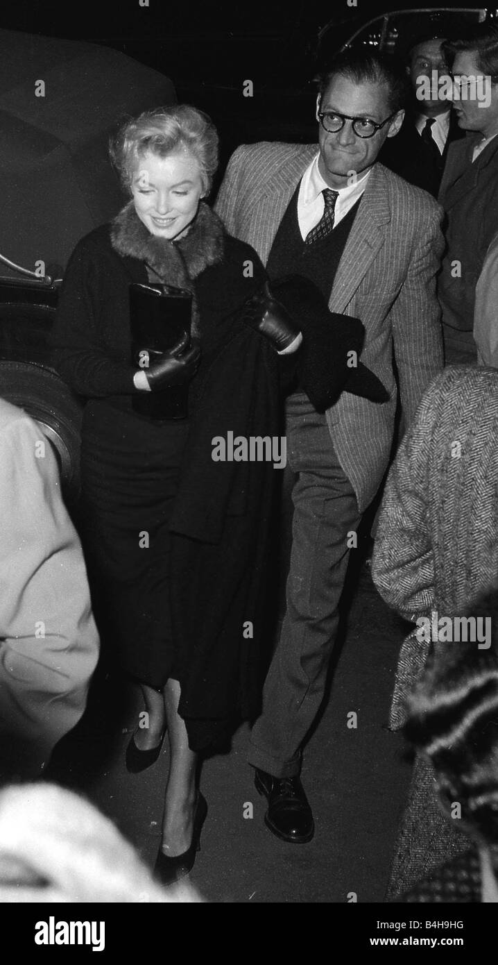 Actress Marilyn Monroe and Arthur Miller attend a discussion at Royal Court Theatre 1956 - Stock Image