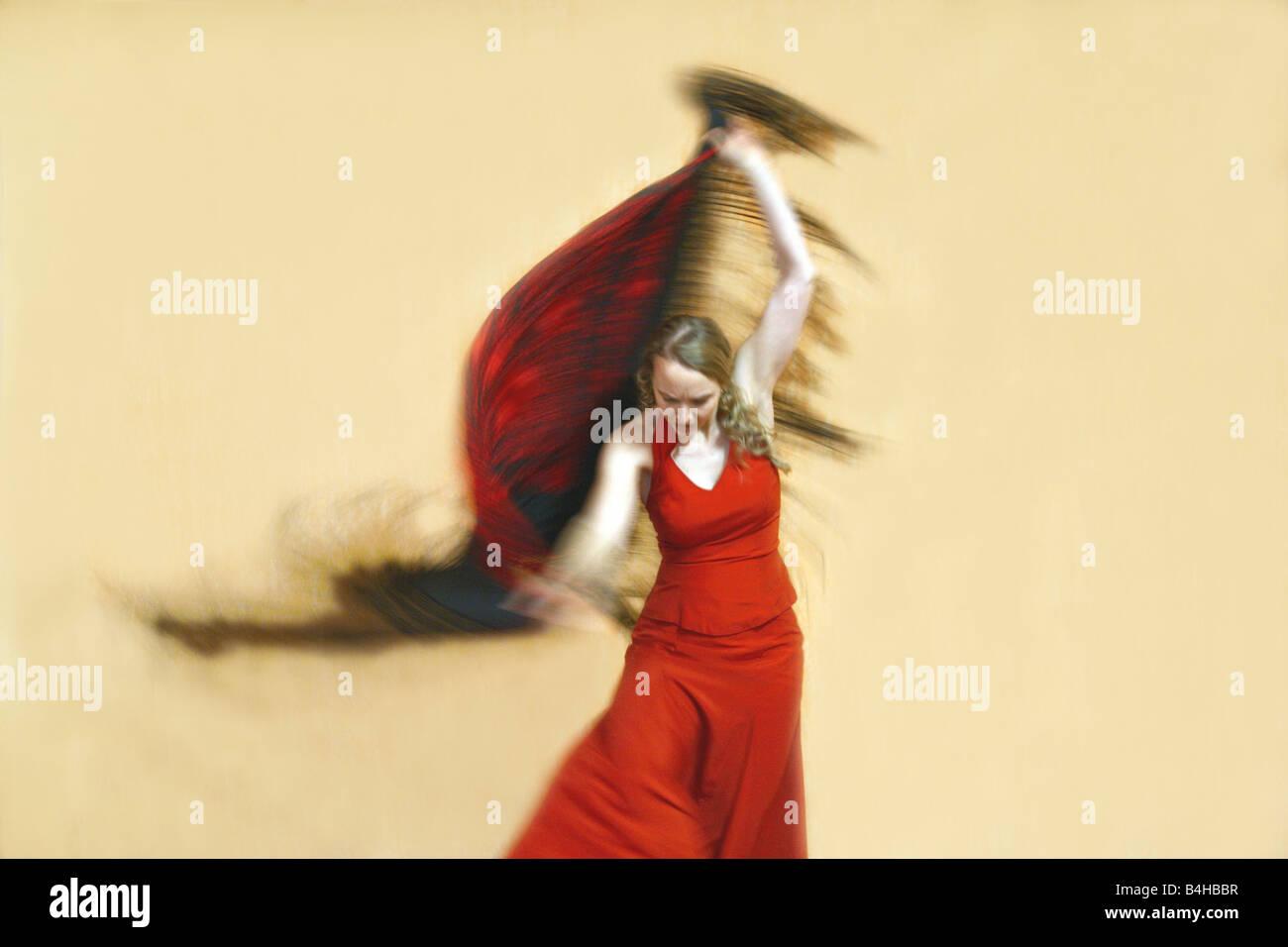 High angle view of female flamenco dancer dancing - Stock Image