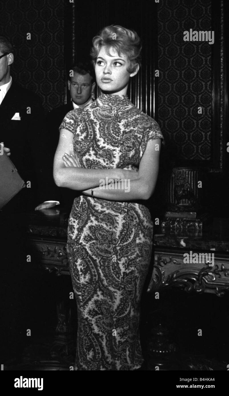 Actress Brigitte Bardot at the Empire Cinema in Leicester Square for rehearsals of the Royal Command Performance - Stock Image