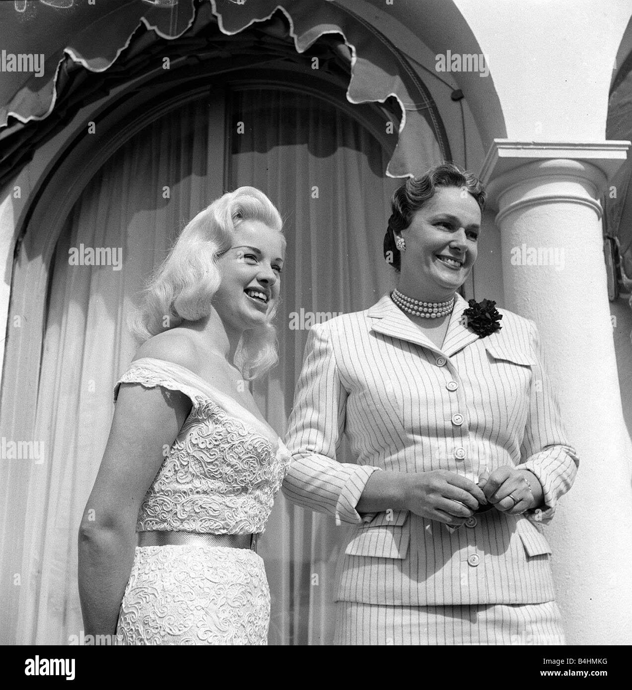 Diana Dors May 1956 Actress at cannes film Festival with begun Aly Khan - Stock Image