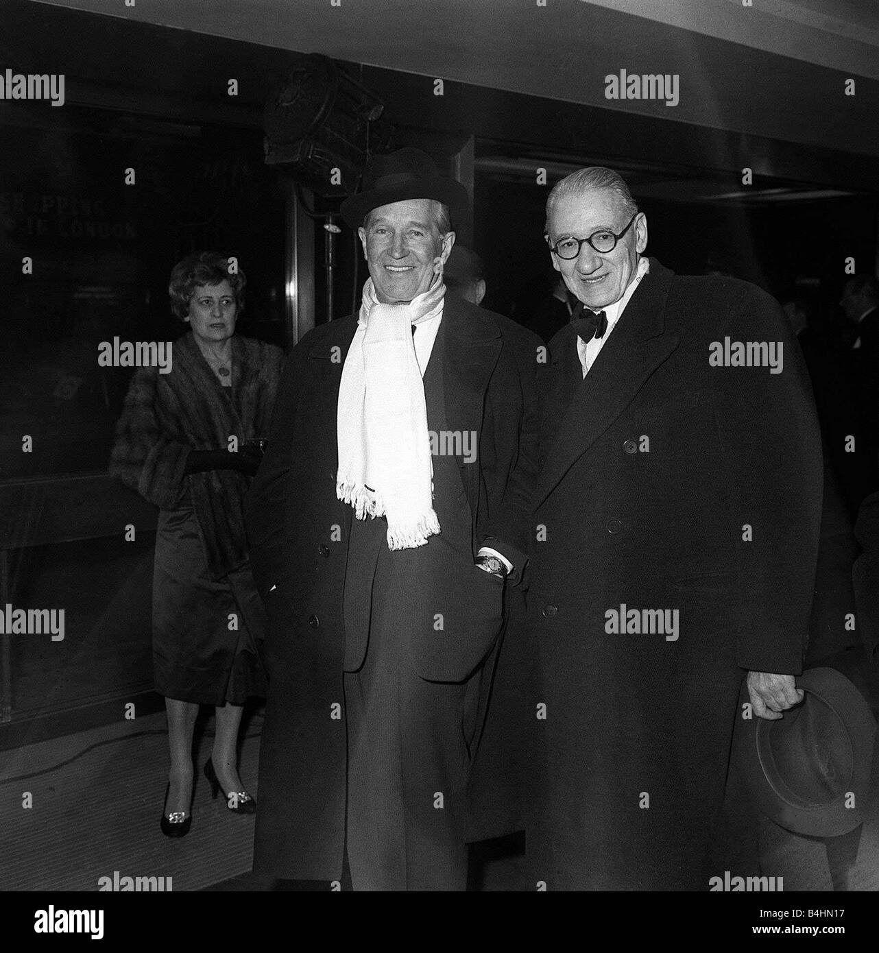Maurice Chevalier Actor arrives at the premiere of the new musical film GiGi at the new Columbia Cinema Shaftesbury - Stock Image