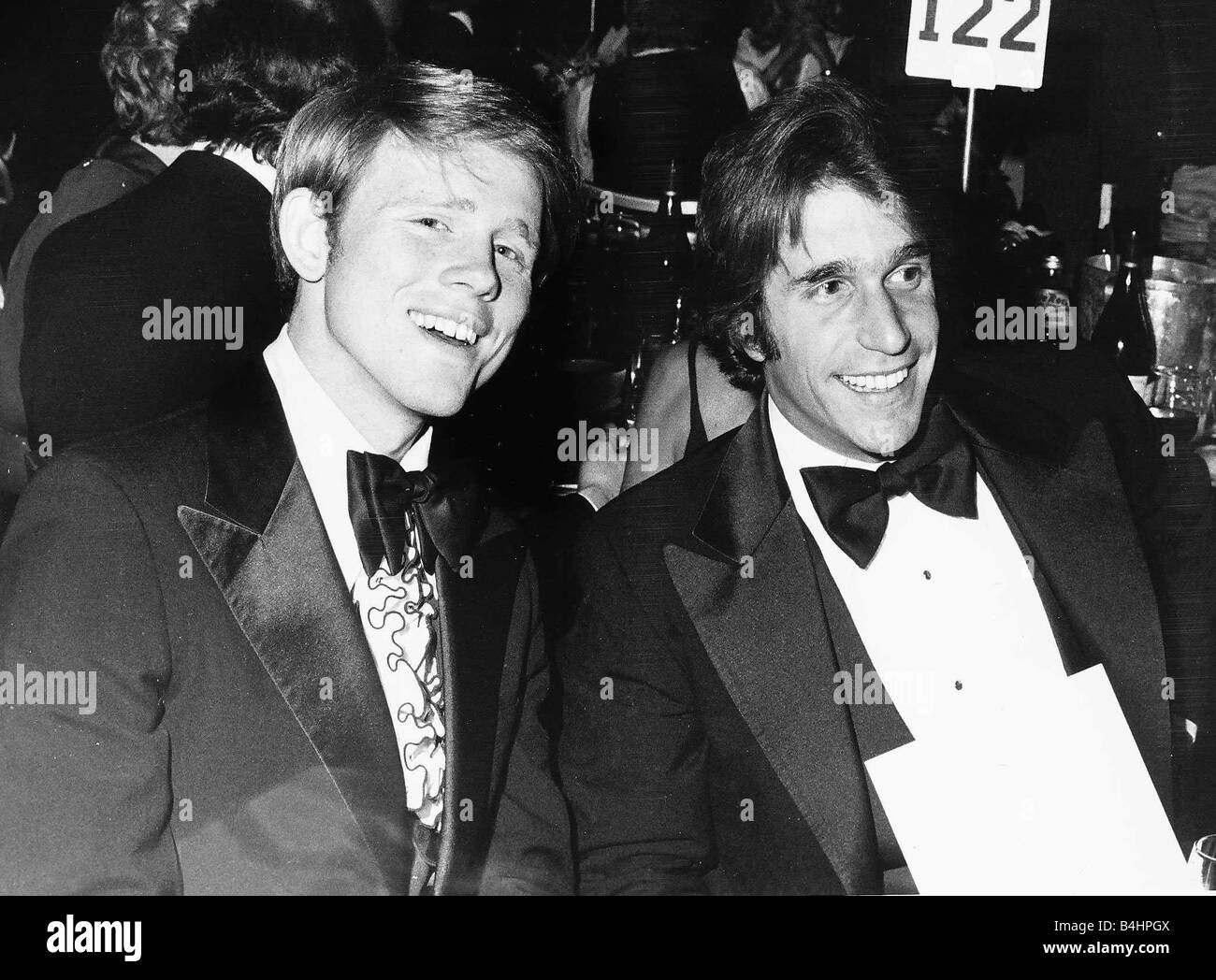 Actor Ron Howard with fellow actor Henry Winkler from the US TV series Happy Days pictured at a recent American - Stock Image