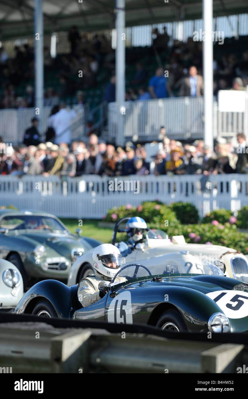 Goodwood Revival: Competitors take their places on the start line. Picture by Jim Holden Stock Photo