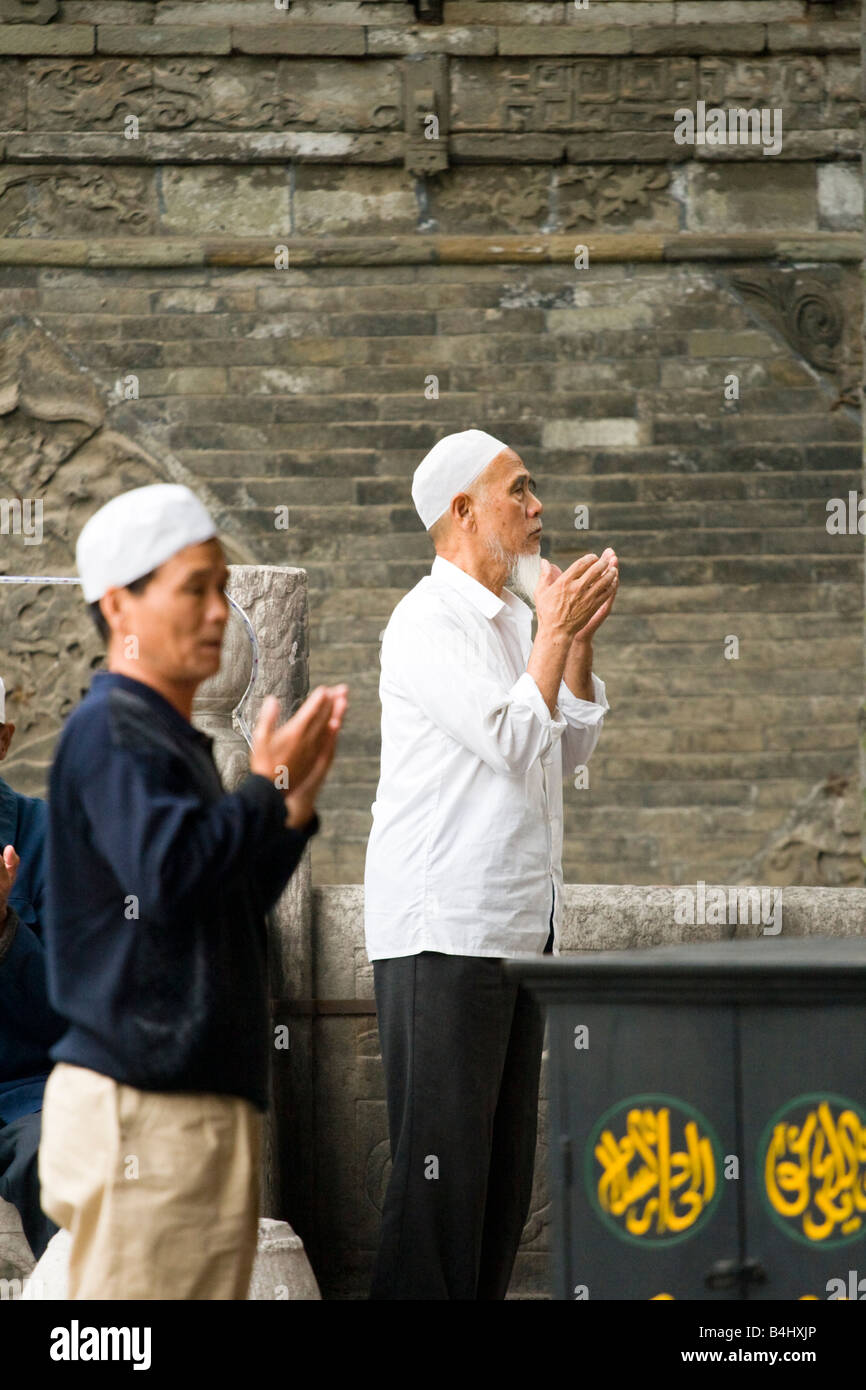 Chinese muslims at a mosque in Xian , China - Stock Image