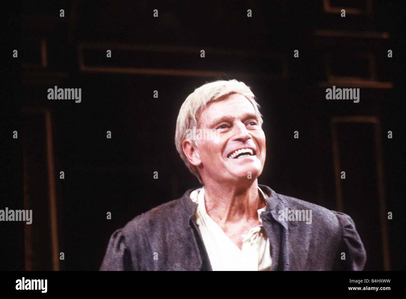 Charlton Heston Actor at the Savoy Theatre as Sir Thomas Moore October 1987 Dbase MSI - Stock Image