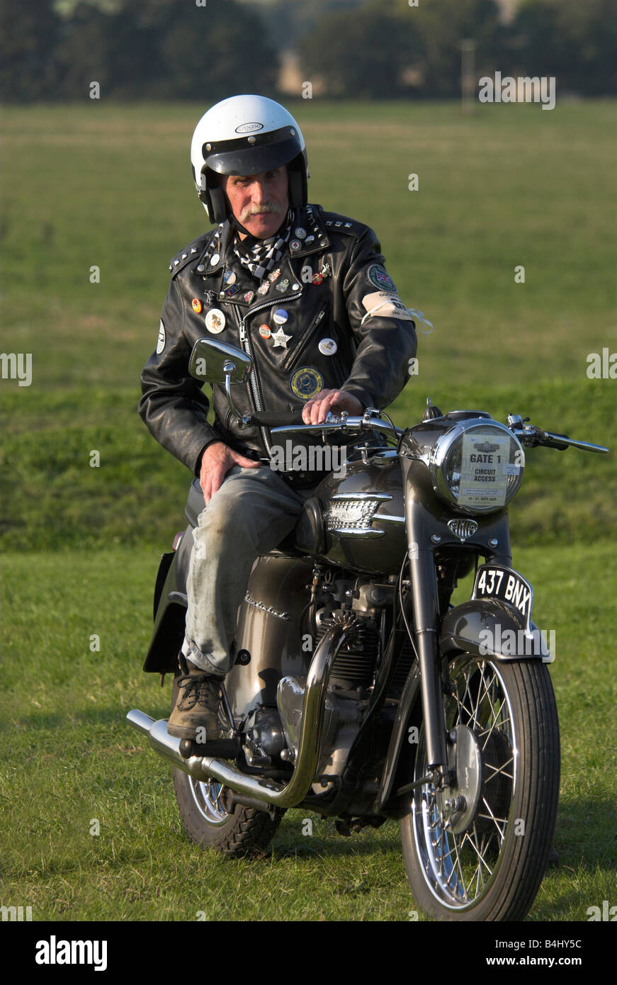 1960s Rocker On A Triumph Thunderbird Motorcycle Stock Photo