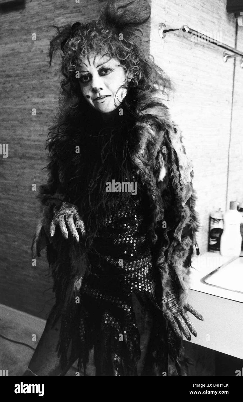 Elaine Paige Actress Singer in the costume she wears for the Musical Cats in her dressing room June 1981 Dbase MSI Stock Photo