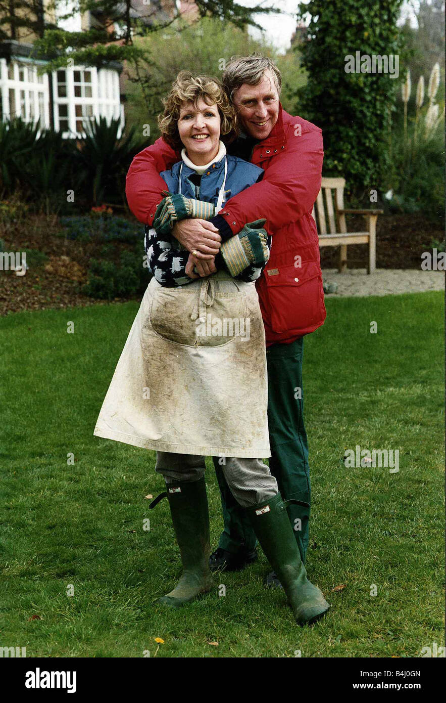 Penelope Keith actress with husband in garden April 1989 - Stock Image