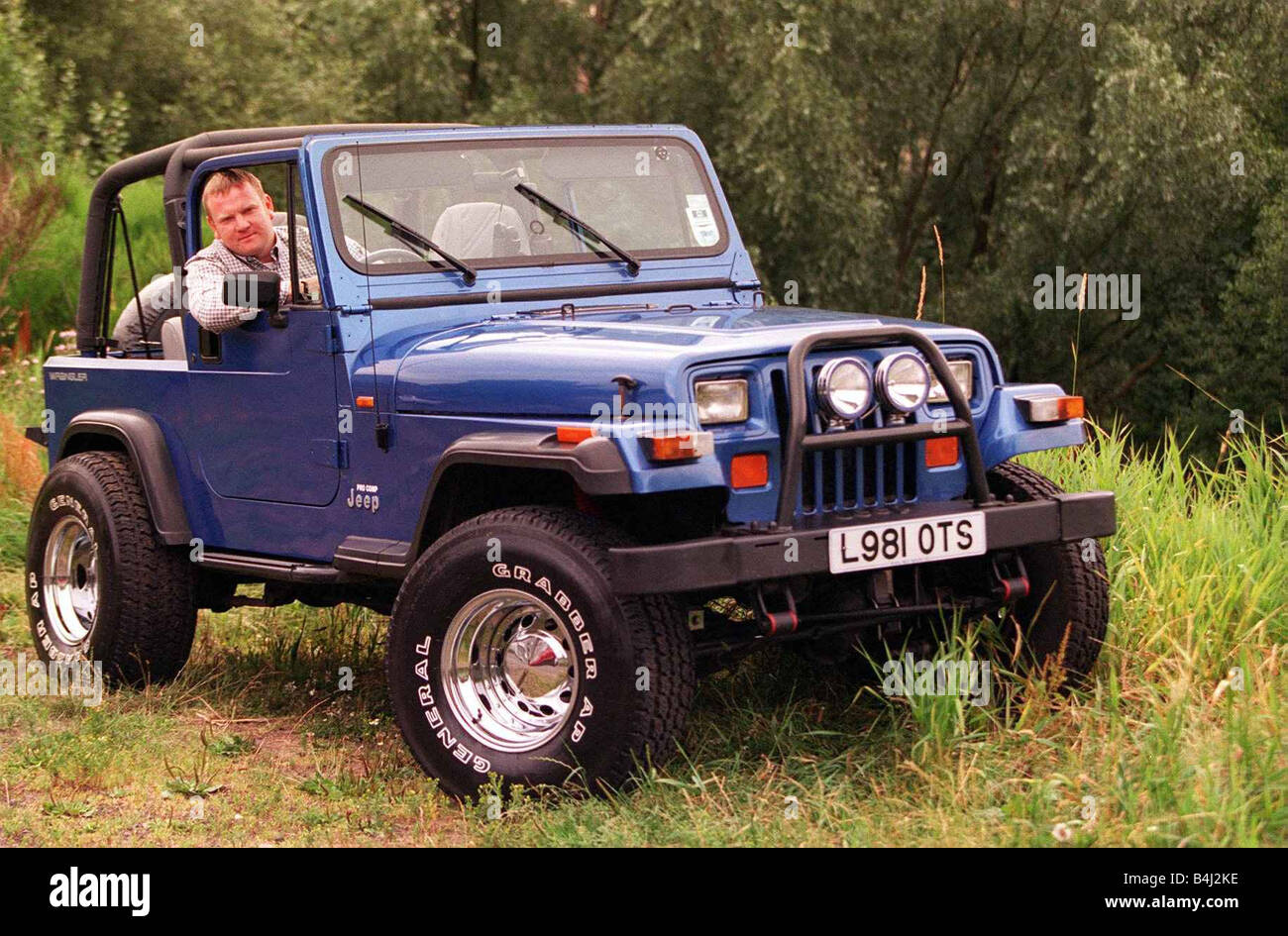 wrangler jeep graham dickson in his 4x4 29th july 1997 stock photo