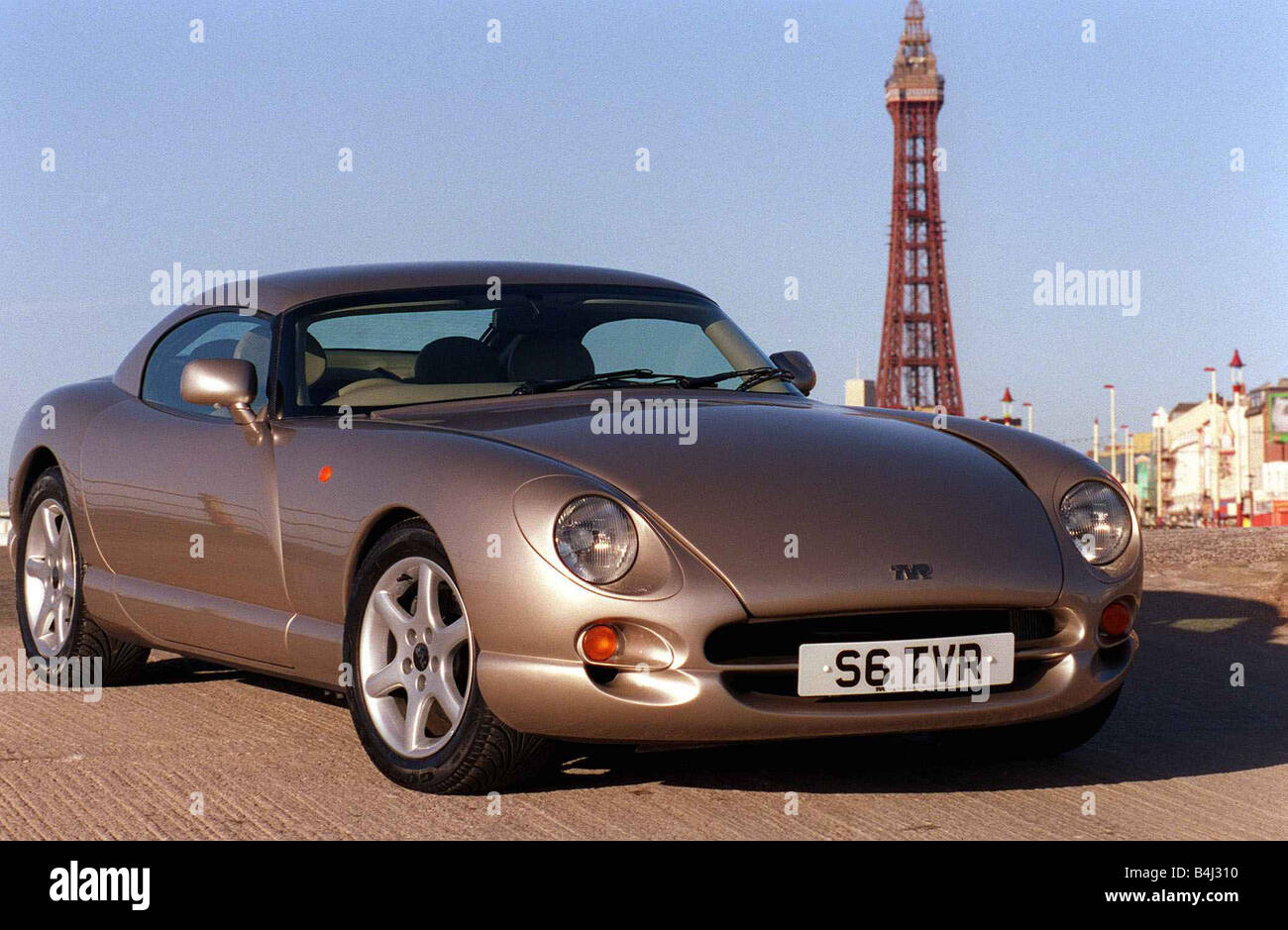 Tvr Car Stock Photos Images Alamy Remote Starter February 1999 Road Record Speed Six In Blackpool Tower Background