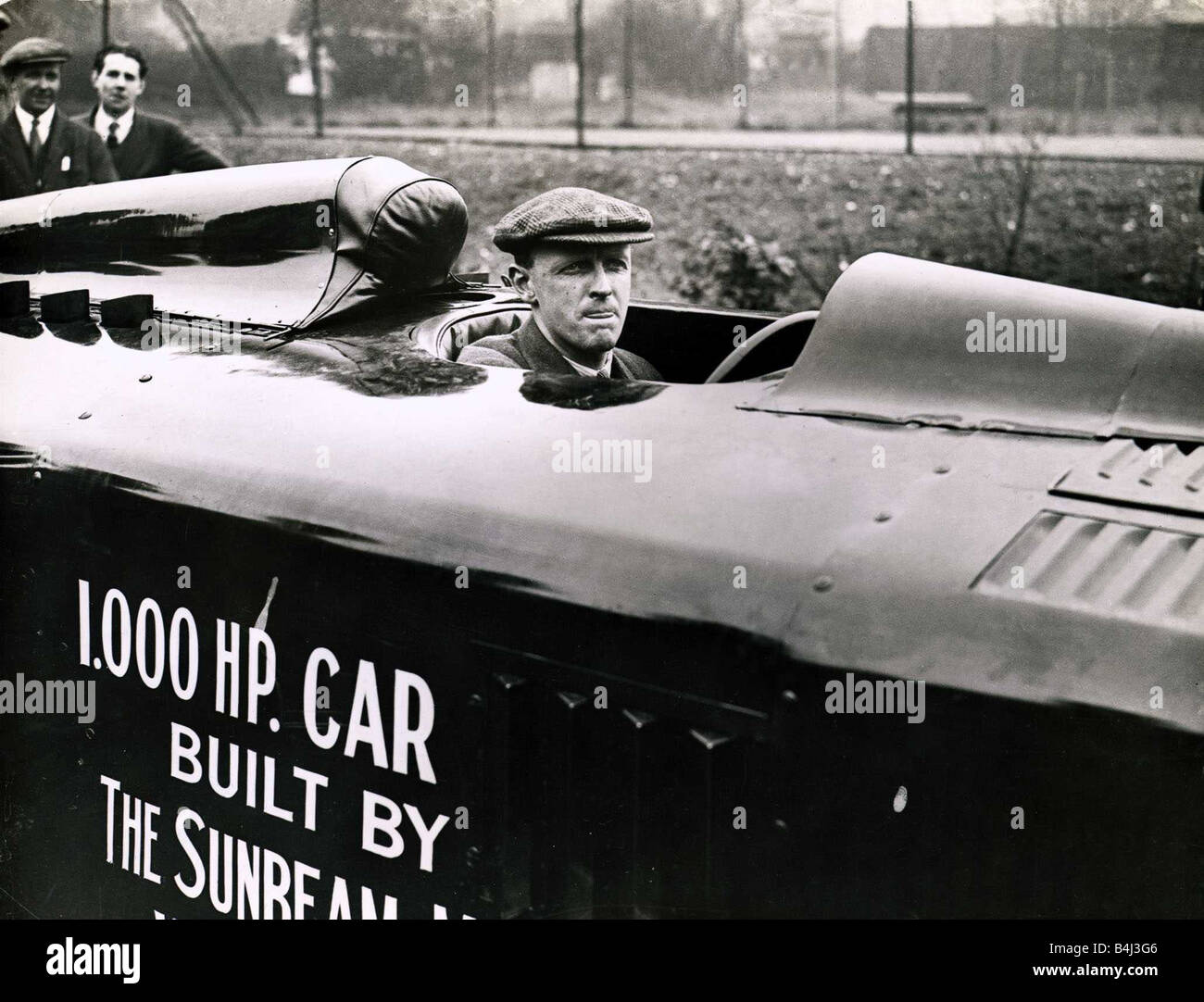 Segrave in the 1000 hp Sunbeam sometimes called the Mystery S The car was designed by Louis Coatalen and was unlike - Stock Image