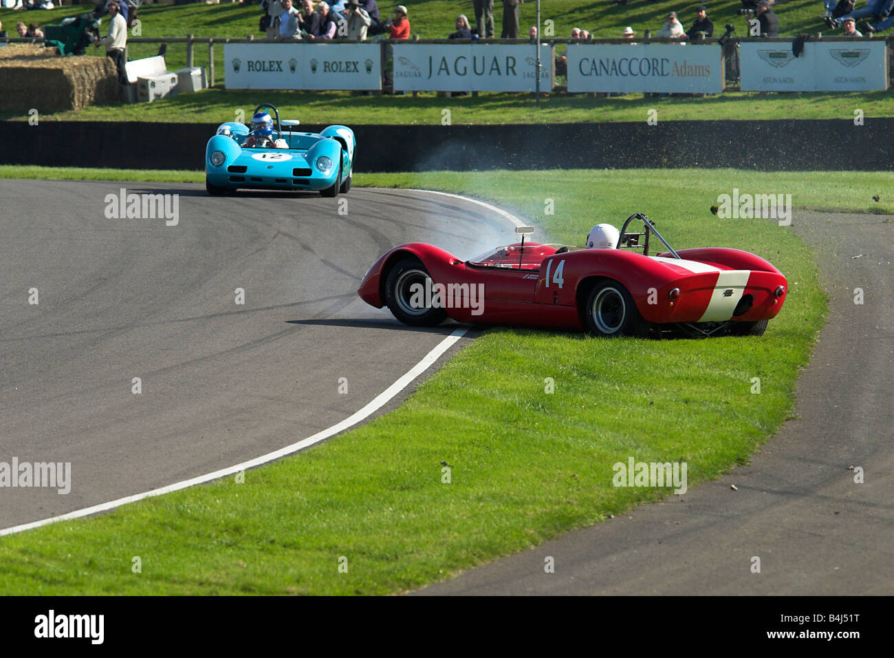 Two 1965 Elva BMW Cars Crashing at the Goodwood Revival Photo 2 of 5 showing the whole crash Stock Photo