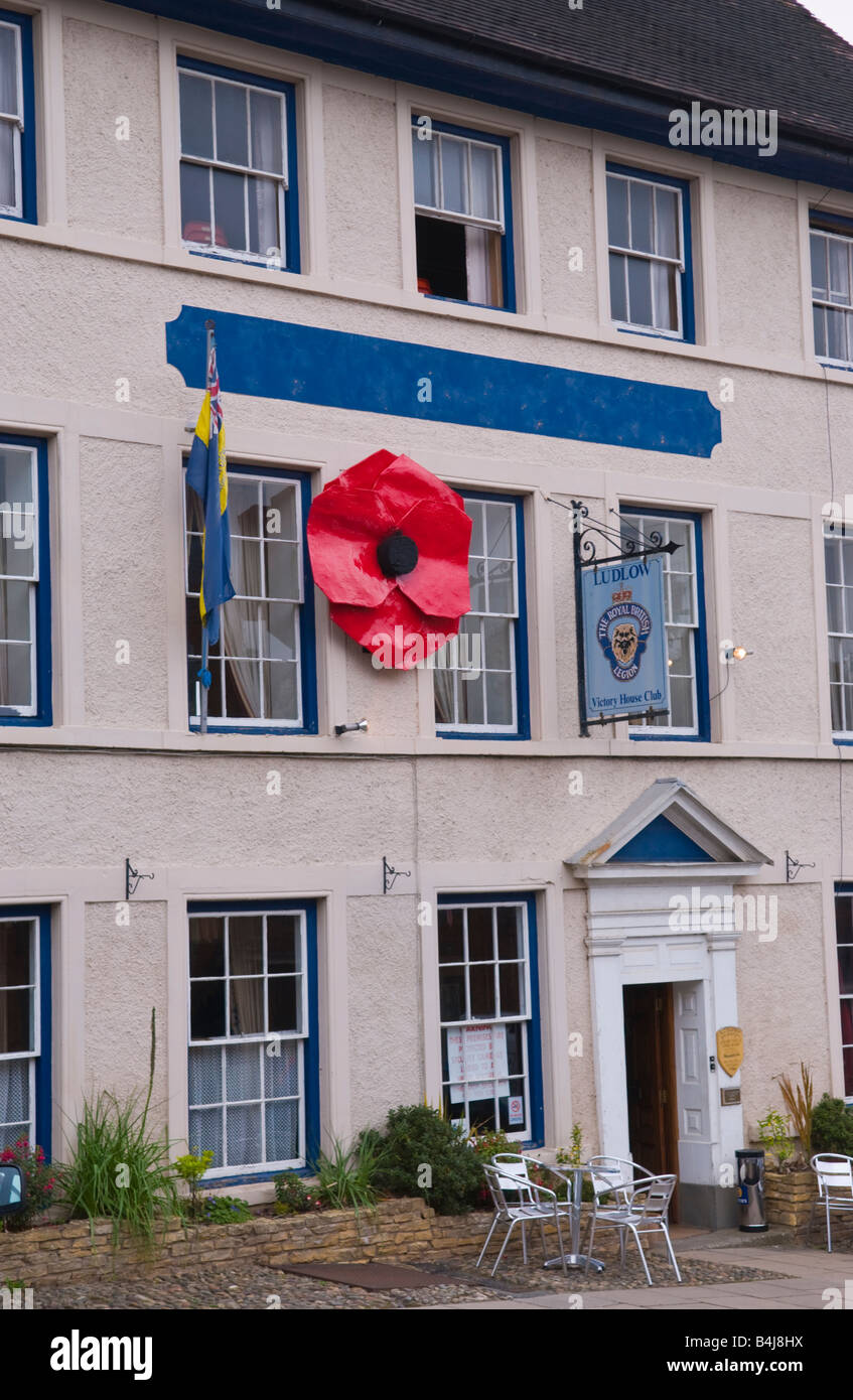 Giant red poppy on outside of the Royal British Legion in Ludlow Shropshire England UK - Stock Image