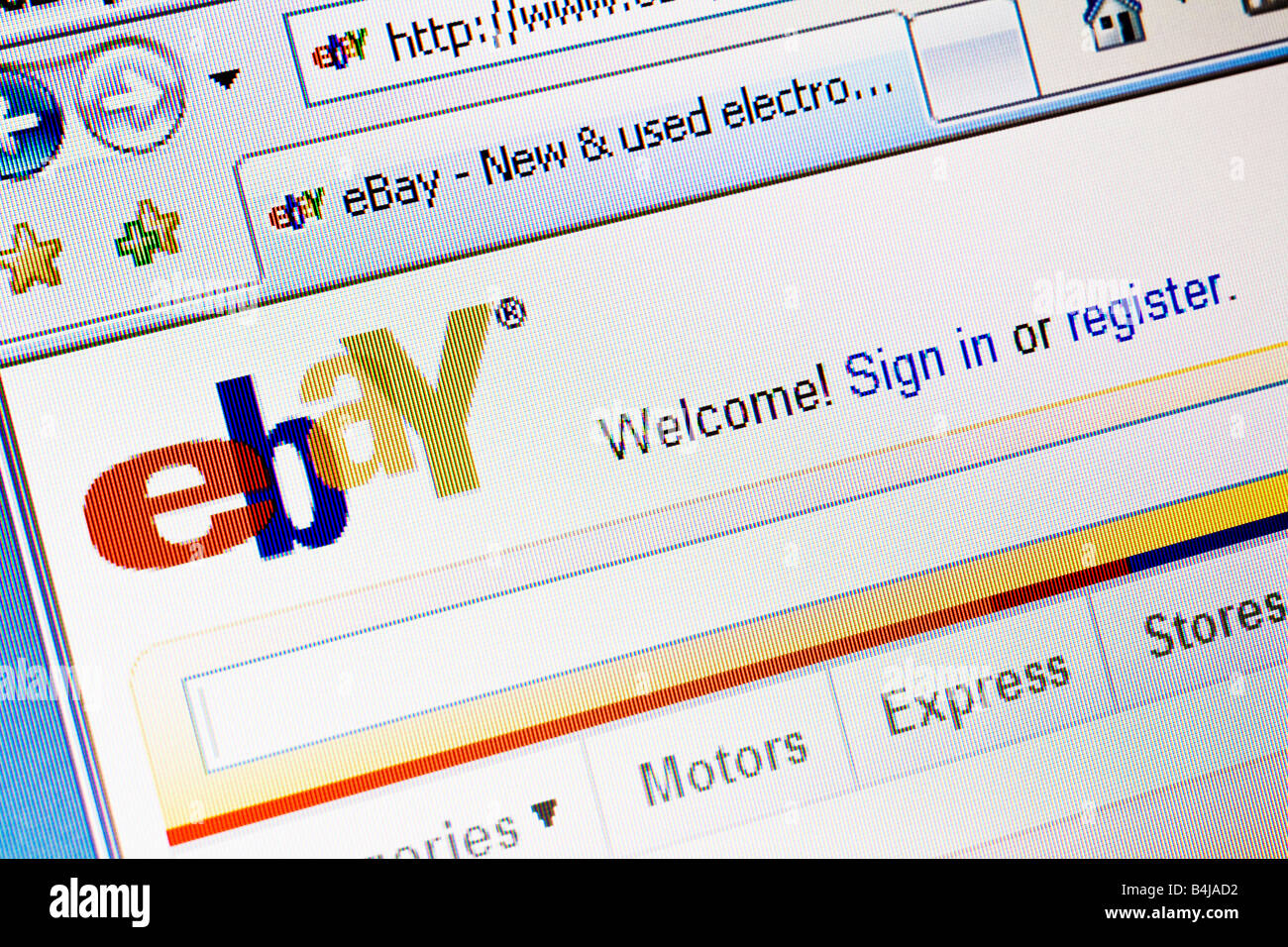 Ebay website splash screen and logo showing welcome message - Stock Image
