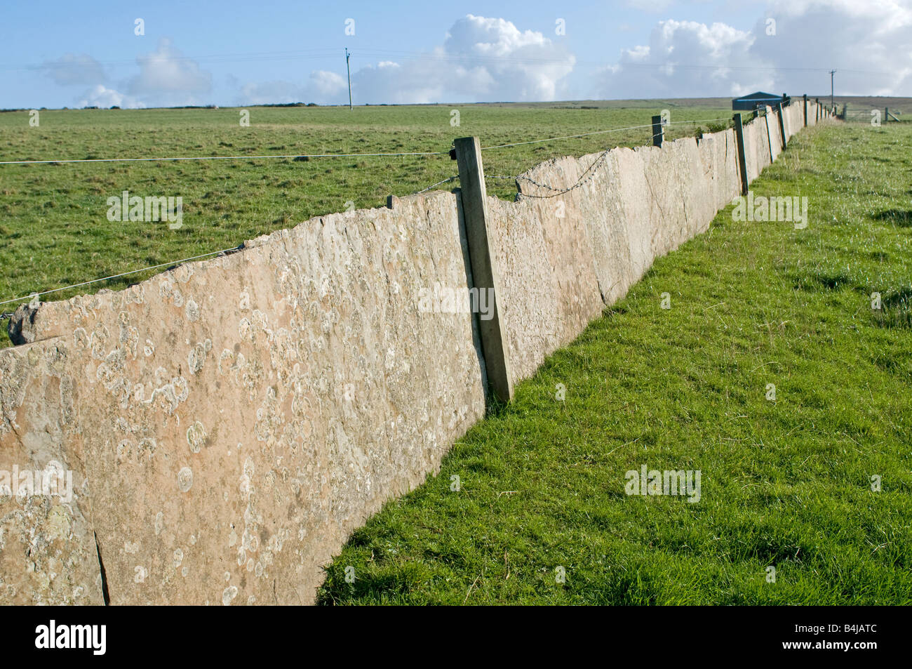 Caithness Flagstone used as a wall for retaining farm stock Northern Thurso Northern Scottish Mainland Highlands - Stock Image
