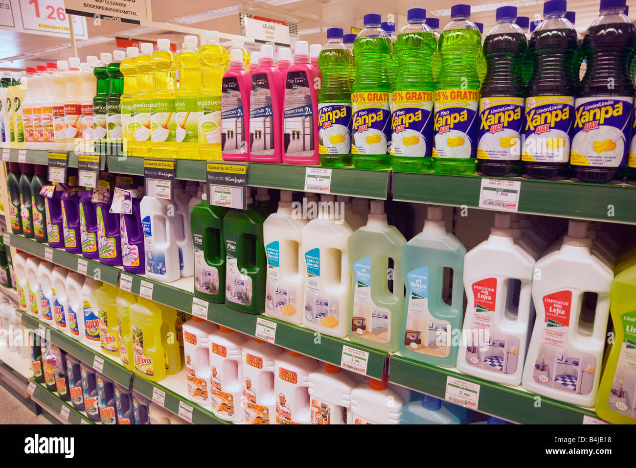 Household cleaning products on supermarket shelves in a SuperCor outlet of El Corte Ingles Spain Stock Photo