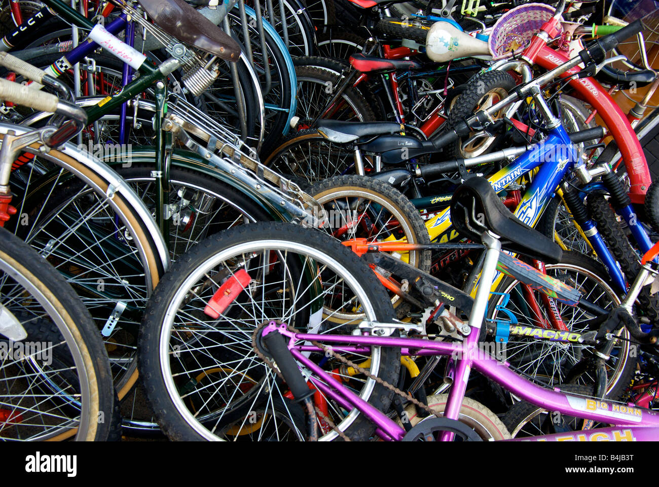 Pile Of Used Bicycles Stock Photos & Pile Of Used Bicycles Stock