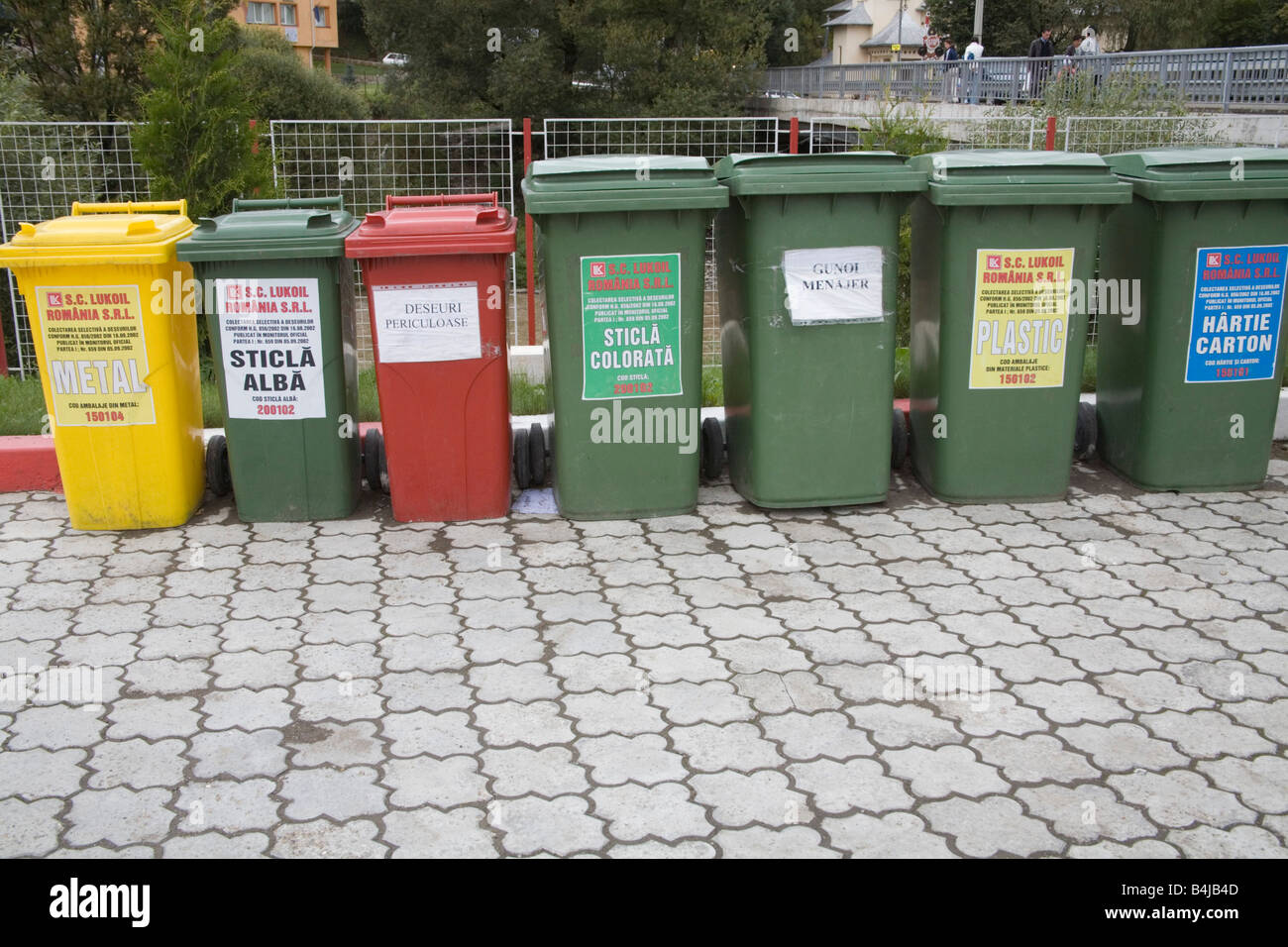 Moldavia Romania Europe EU September Green red and yellow wheelie bins for recycled items Stock Photo