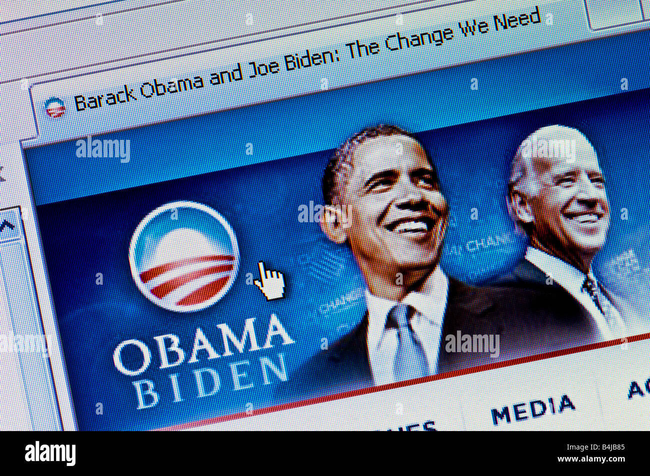 Macro screenshot of Barack Obama and Joe Biden 2008 US Presidential Campaign website (Editorial use only) - Stock Image