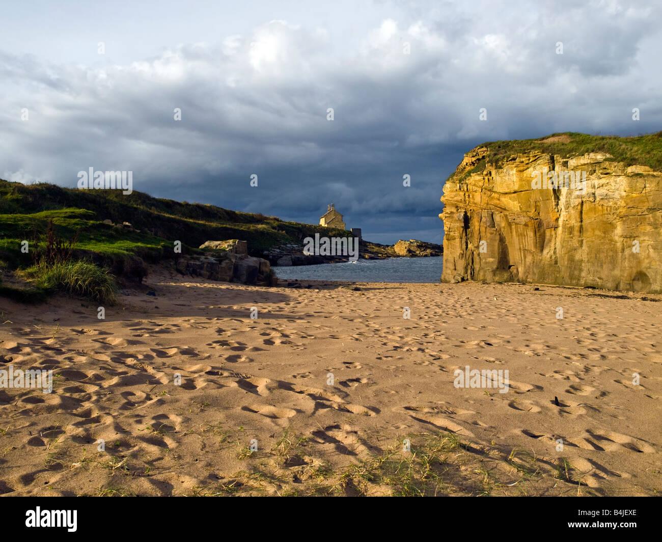 Coast Deserted Northumberland Beach - Stock Image