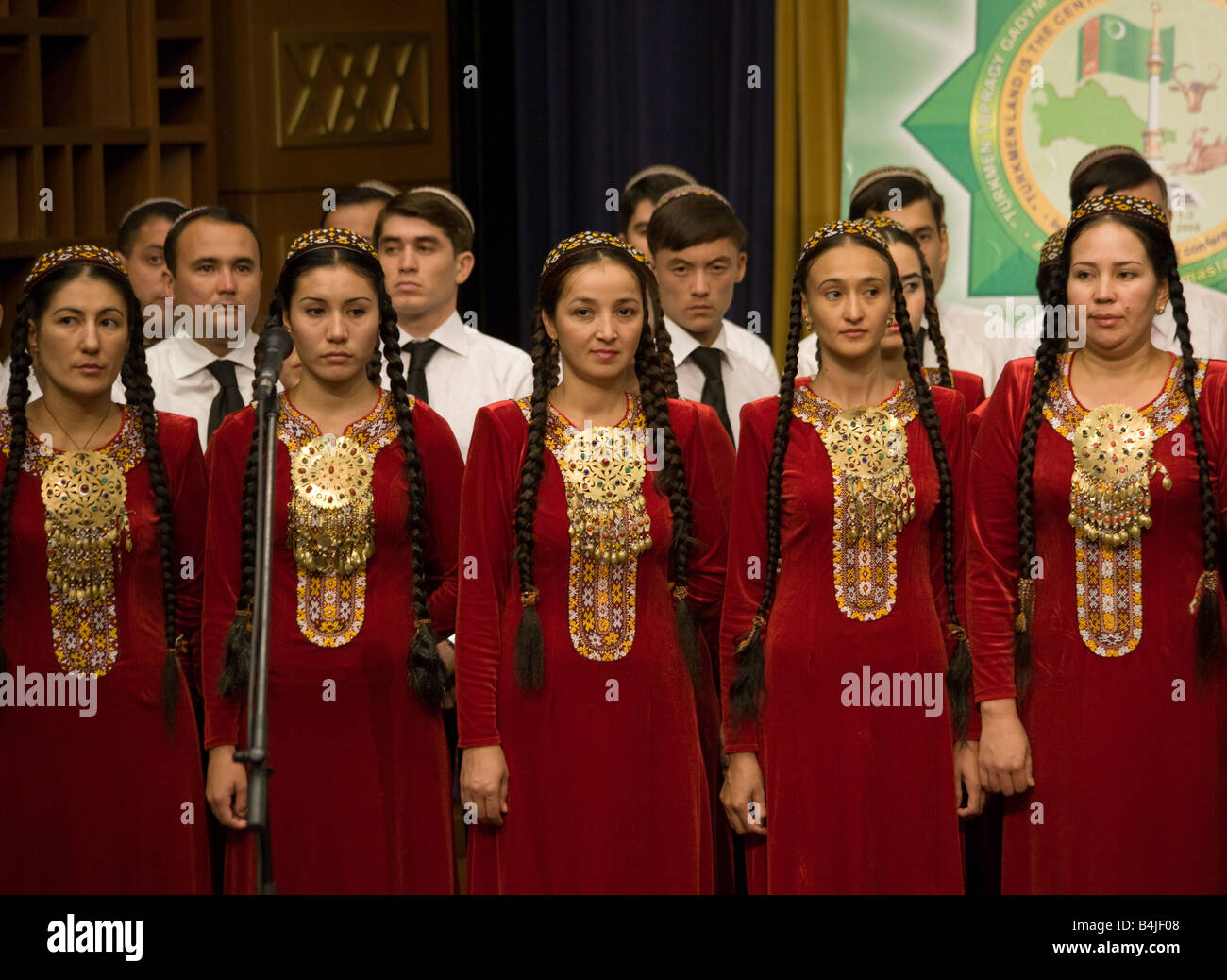 choir in native costume at opening of international conference, Ashqabat, Turkmenistan - Stock Image