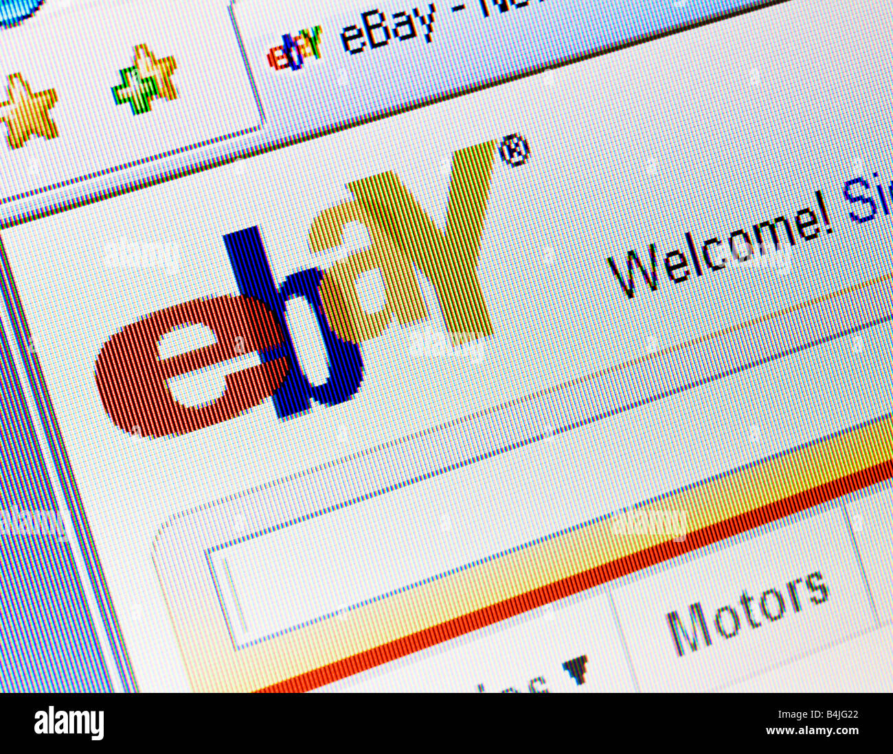 Ebay website splash screen and logo showing welcome message Stock Photo