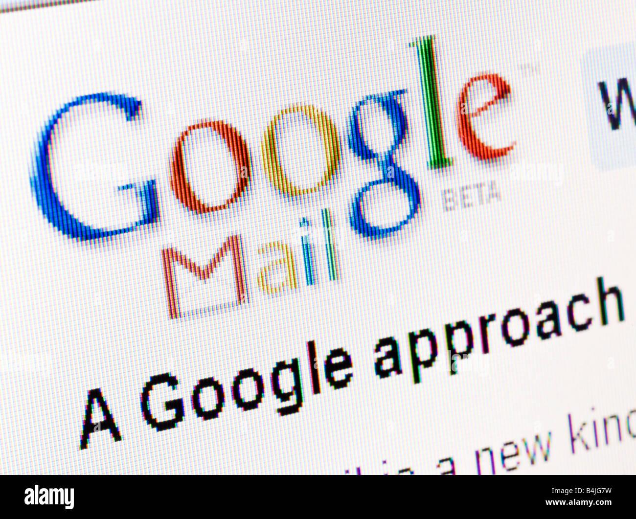 Google Mail GMAIL website splash screen and logo - Stock Image