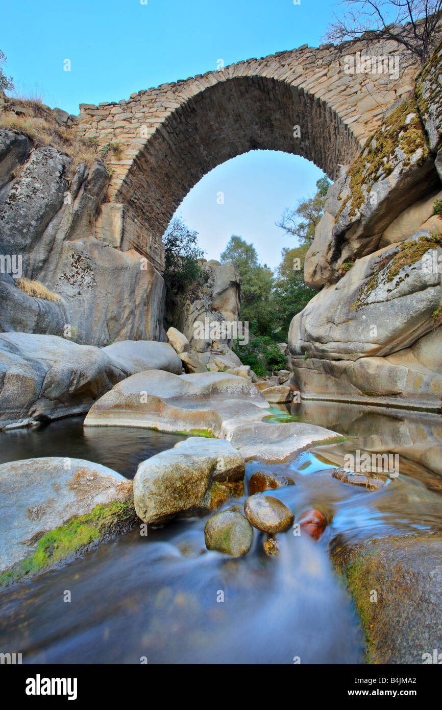 Bridge and a brook in Mariovo region, Macedonia - Stock Image