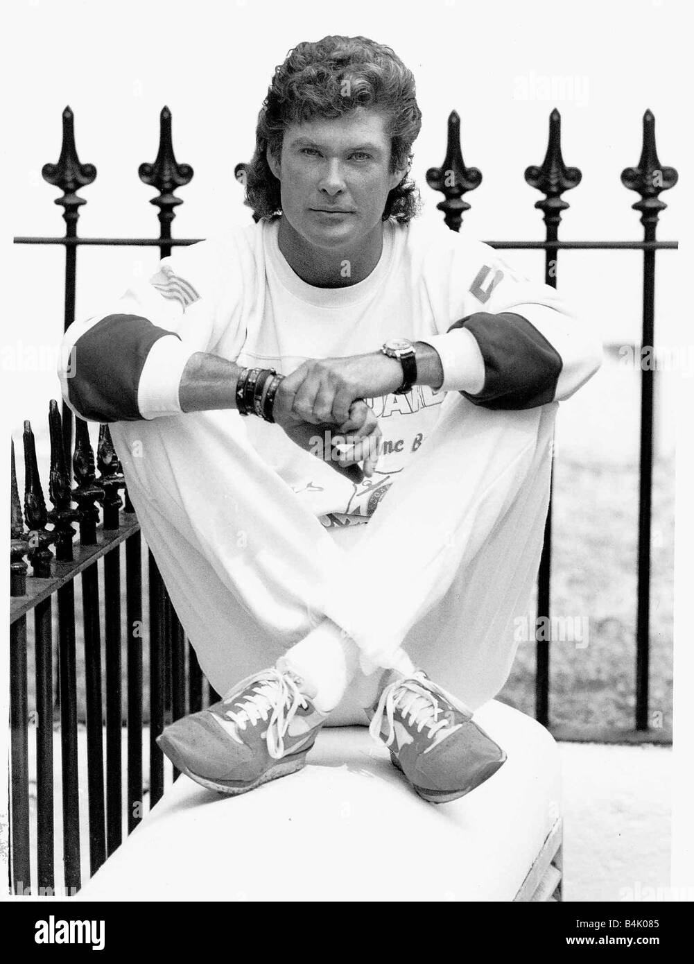 American Actor David Hasselhoff poses during a visit to London June 1989 Mirrorpix - Stock Image